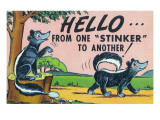 Comic Cartoon - Hello from One Stinker to Another; Two Skunks Prints