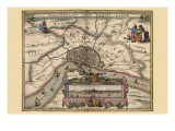 Karte von Atwerp, Belgium Kunstdrucke von Pieter Van der Keere