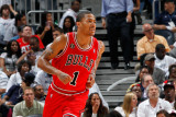 Chicago Bulls v Atlanta Hawks - Game Six, Atlanta, GA - MAY 12: Derrick Rose Photographic Print by Kevin Cox
