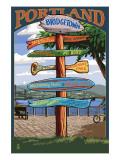 Portland, Oregon Destinations Sign Prints