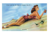 Atlantic City, New Jersey - Refreshing Pin-Up Girl on the Beach Posters