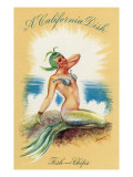 California - A Californian Dish, Fish and Chips; A Pretty Mermaid Prints by  Lantern Press