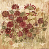 Burgundy Floral Frenzy II Prints by Alan Hopfensperger