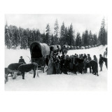 Wagon Party in Snow, 1935 Giclee Print by Asahel Curtis