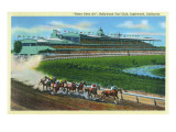 Inglewood, California - Hollywood Turf Club View of a Horse Race Art by  Lantern Press