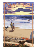 San Diego, California Beach Walk & Surfers Poster