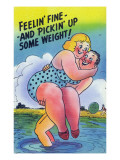 Comic Cartoon - Feelin' Fine and Picking Up Weight; Man Lifts Big Girl Prints