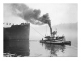 Tugboat Elf Hauling the Pansa Through the Thea Foss Waterway Reproduction proc&#233;d&#233; gicl&#233;e par Marvin Boland