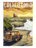 California Coast - Woody and Lighthouse Posters by  Lantern Press