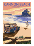 Cannon Beach, Oregon - Woody and Haystack Rock Print by  Lantern Press