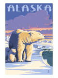 Alaska - Polar Bear at Sunrise Art by  Lantern Press