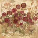 Burgundy Floral Frenzy I Prints by Alan Hopfensperger