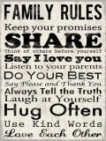 Familienregeln, Englisch Poster von Louise Carey