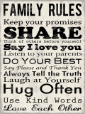 Gezinsregels, poster met opsomming in het Engels: Family Rules Poster van Louise Carey
