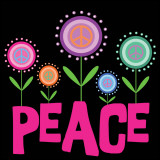 Peace Flowers Poster van Louise Carey