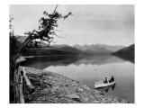 Lake Scene with Boaters, Circa 1911 Giclee Print by Asahel Curtis