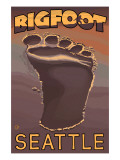 Seattle, Washington Bigfoot Footprint Posters by  Lantern Press