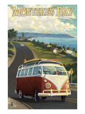 Monterey, California - VW Van Poster by  Lantern Press
