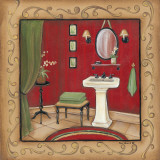 Red Bathroom Sink Print by Kim Lewis