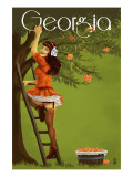Georgia Peach Orchard Pinup Girl Poster by  Lantern Press
