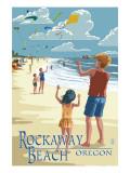 Lantern Press - Rockaway Beach, Oregon - Kite Flyers - Reprodüksiyon