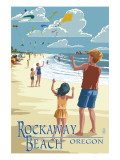 Rockaway Beach, Oregon - Kite Flyers Print