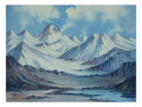 Alaska Range From Richardson Highway Premium Giclee Print by Anna P. Gellenbeck