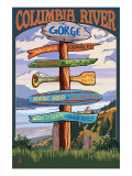 Columbia River Gorge, Oregon Destinations Sign Poster by  Lantern Press