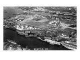 Seattle, Washington - Harbor Island Aerial Photograph Prints