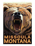 Missoula, Montana - Bear Roaring Poster by  Lantern Press