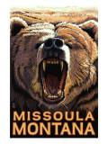 Missoula, Montana - Bear Roaring Poster by  Lantern Press