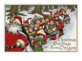 Lantern Press - Christmas Greetings from Oregon - Santa & Sleigh - Art Print