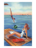 Pin-Up Girls - Inspiration Scene; Woman on Float on Lake Posters