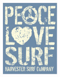 Peace Love Surf Art by Sam Maxwell