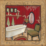 Red Bathroom Tub Print by Kim Lewis