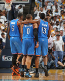 Oklahoma City Thunder v Memphis Grizzlies - Game Four, Memphis, TN - MAY 9: Russell Westbrook, Jame Photographie par Joe Murphy