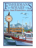 San Francisco, California - Fisherman's Wharf Art by  Lantern Press