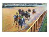 Saratoga Springs, New York - Home Stretch on the Track Poster by  Lantern Press