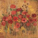 Red Floral Frenzy II Art by Alan Hopfensperger