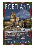 Portland, Oregon - Skyline at Night - Christmas Version Affiches