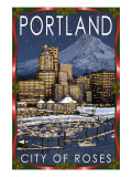 Portland, Oregon - Skyline at Night - Christmas Version Prints by  Lantern Press