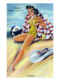 Atlantic City, New Jersey - Coquette on the Beach Print by  Lantern Press
