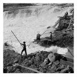 Dip Net Fishing at Celilo Falls, 1954 Giclee Print by Virna Haffer
