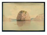 Rock in Columbia River Giclee Print by James Tilton Pickett