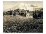 Paradise Inn and Mount Rainier, 1916 Giclee Print by Asahel Curtis