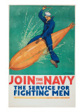 """Join the Navy: the Service For Fighting Men"", 1917 Giclee Print by Richard Fayerweather Babcock"