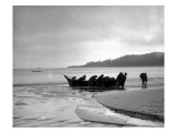 Beaching Canoe, Circa 1910 Giclee Print by Asahel Curtis