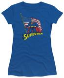 Juniors: Superman - American Flag T-shirts