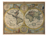 A New and Accurat Map of the World, 1651 Reproduction proc&#233;d&#233; gicl&#233;e par John Speed