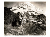 Mount Rainier, Two Women and a Man on Horse Trail, 1914 Giclee Print by Asahel Curtis